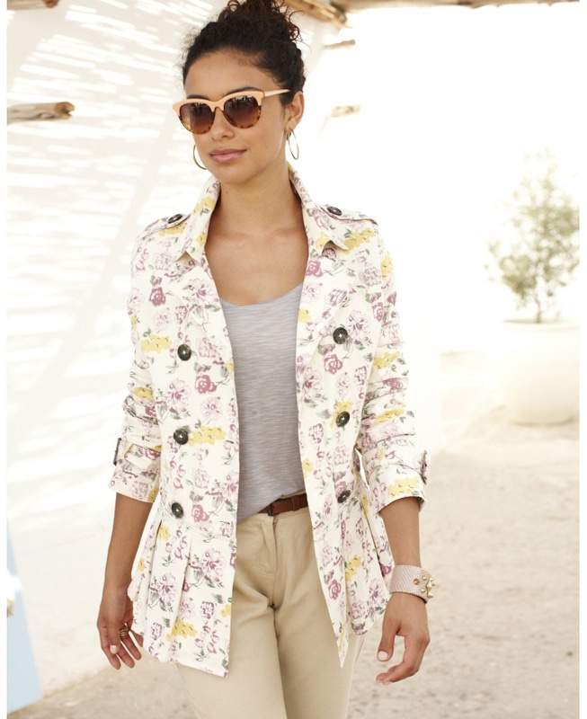 Simply Be Plus Size Floral Peplum Trench Jacket