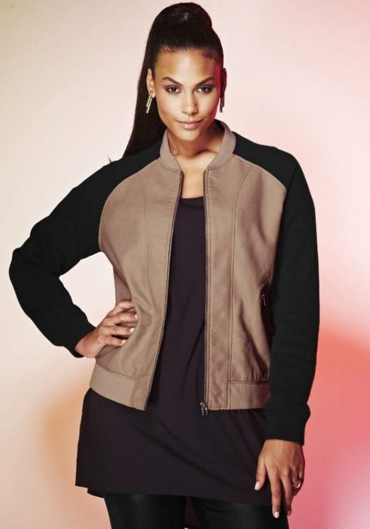 Simply Be Plus Size PU BOMBER JACKET