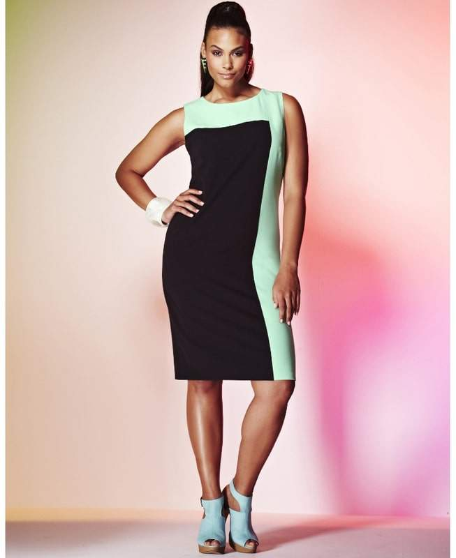 Simply Be Plus SIze COLOR BLOCK DRESS
