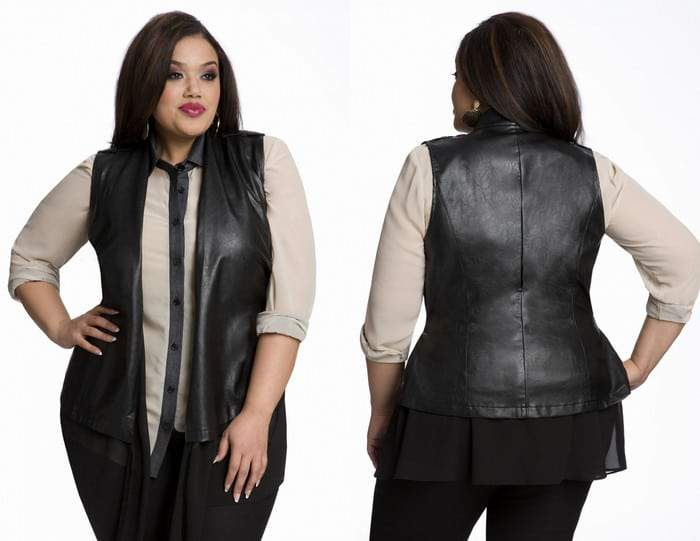 Gotta Have It: Mixed Media Leather Vest @ Ashley Stewart