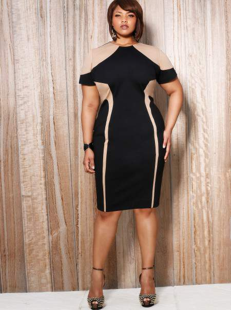 Monif C Plus Sizes Alana Colorblock Illusion Dress