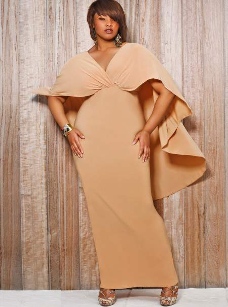 Monif C Plus Sizes Bridgette Cape Back Maxi Dress in Nude