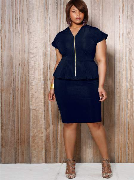 Monif C Plus Sizes Fiona Front Zip Peplum in Navy
