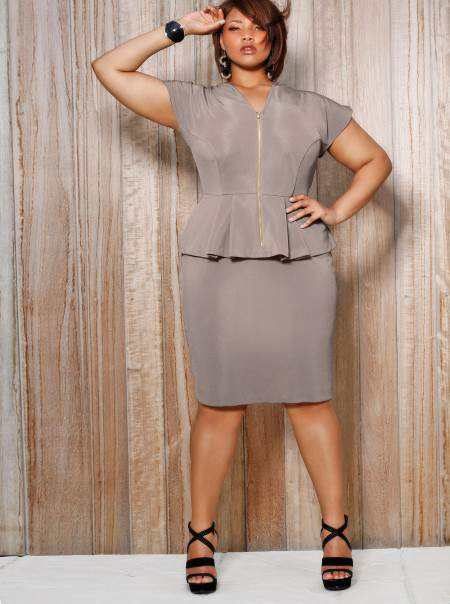 Monif C Plus Sizes Fiona Front Zip Peplum in Taupe