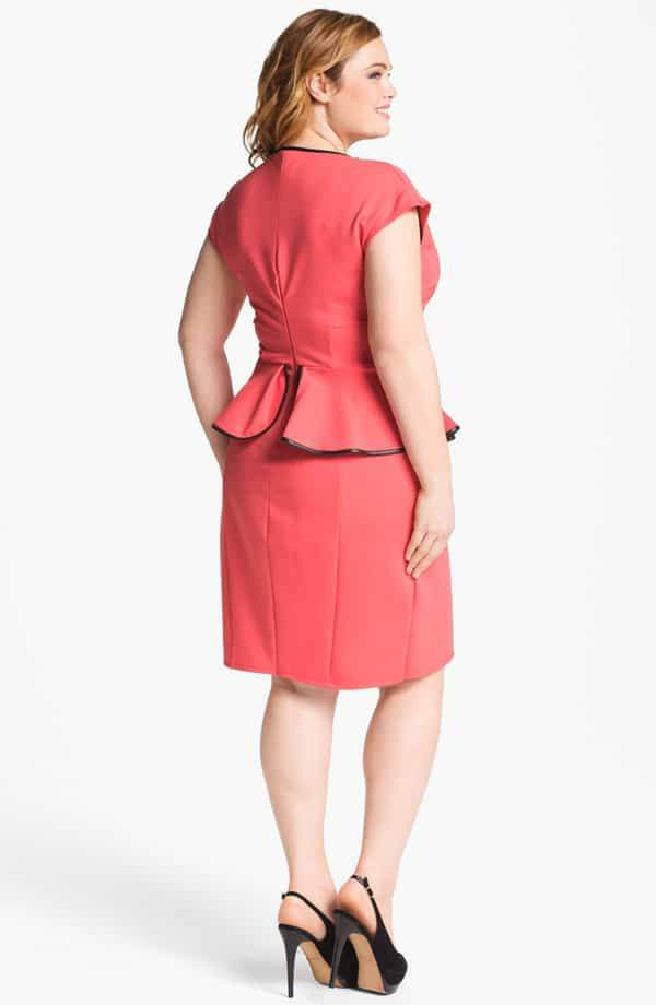 ABS by Allen Scwartz Plus Size Peplum Trim Dress