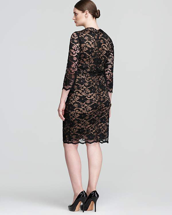 UK Plus size designer Anna Scholz Lace Dress Back