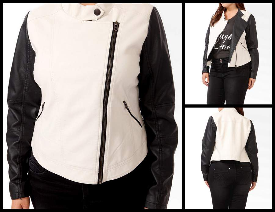 Forever 21 Plus Distressed Contrast Moto Jacket