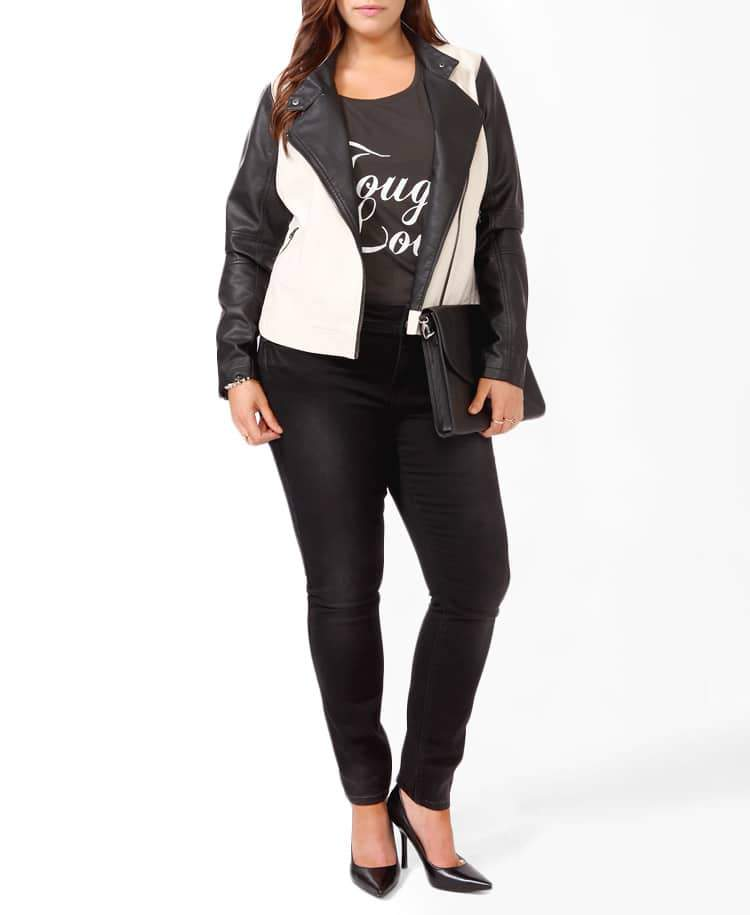 Forever 21 Plus Size Distressed Contrast Moto Jacket