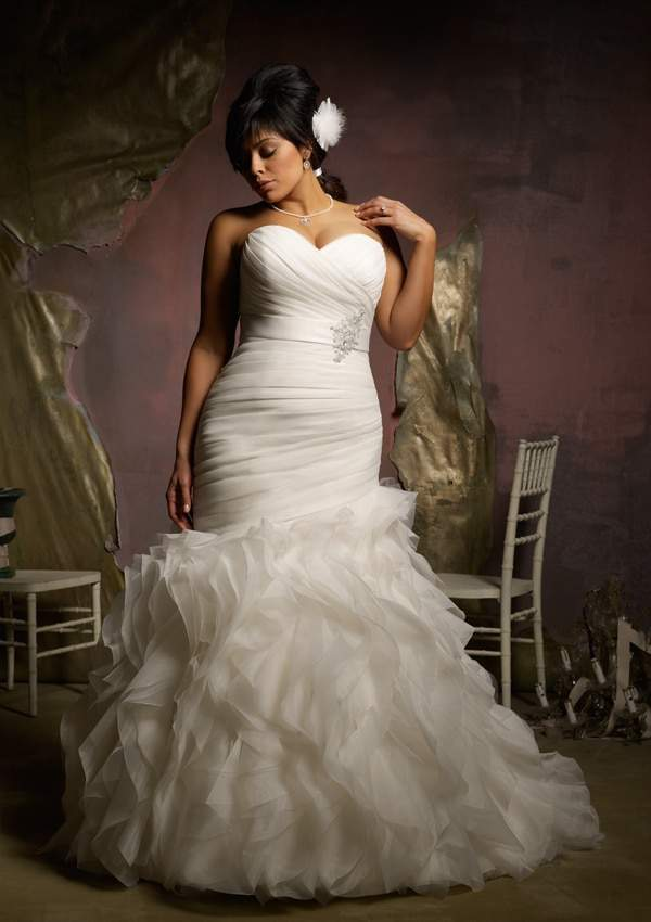 Plus Size Bridal designer- Mori Lee Ruffled Organza