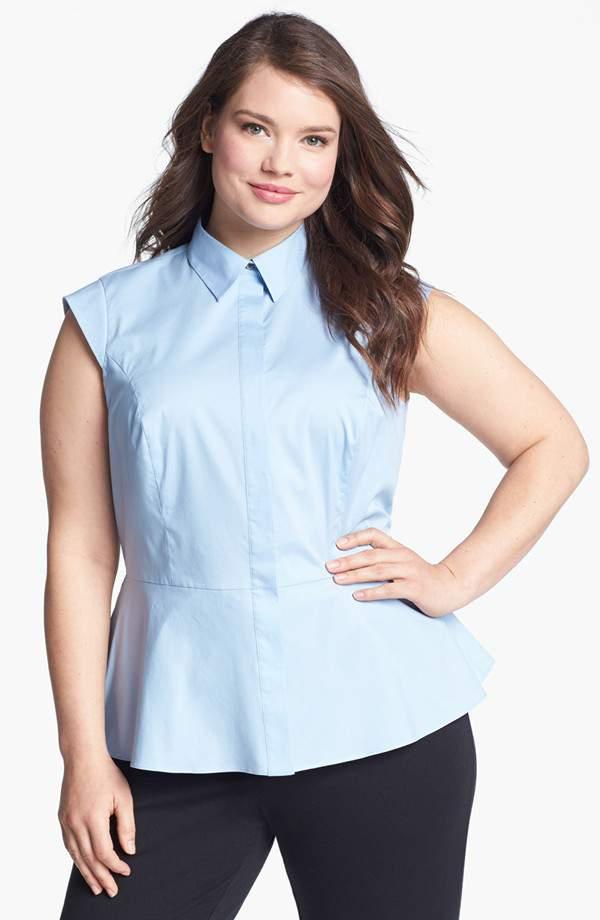 Vince Camuto Plus Size Cap Sleeve Peplum blouse
