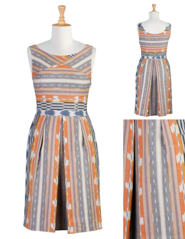 eshakti Retro style ikat weave dress