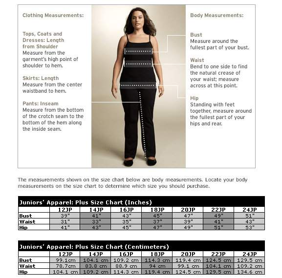 Junior Plus Size Size Chart at Nordstrom