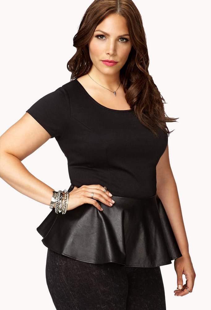Forever 21 Leather Peplum Top