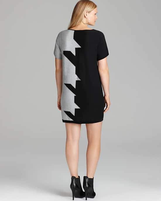 Joan Voss Plus Short Sleeve Houndstooth Dress