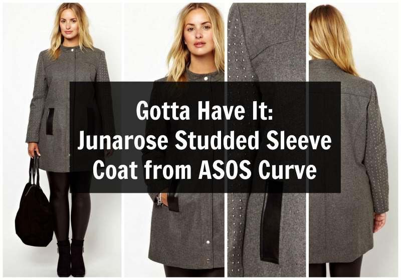 Gotta Have It: This Junarose Plus Size Studded Sleeve Coat from ASOS Curve