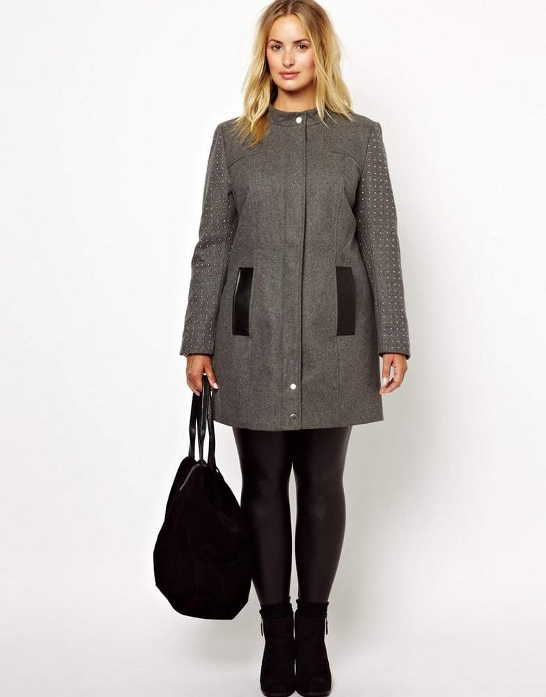 Junarose Plus Size Studded Sleeve Coat from Asos Curve