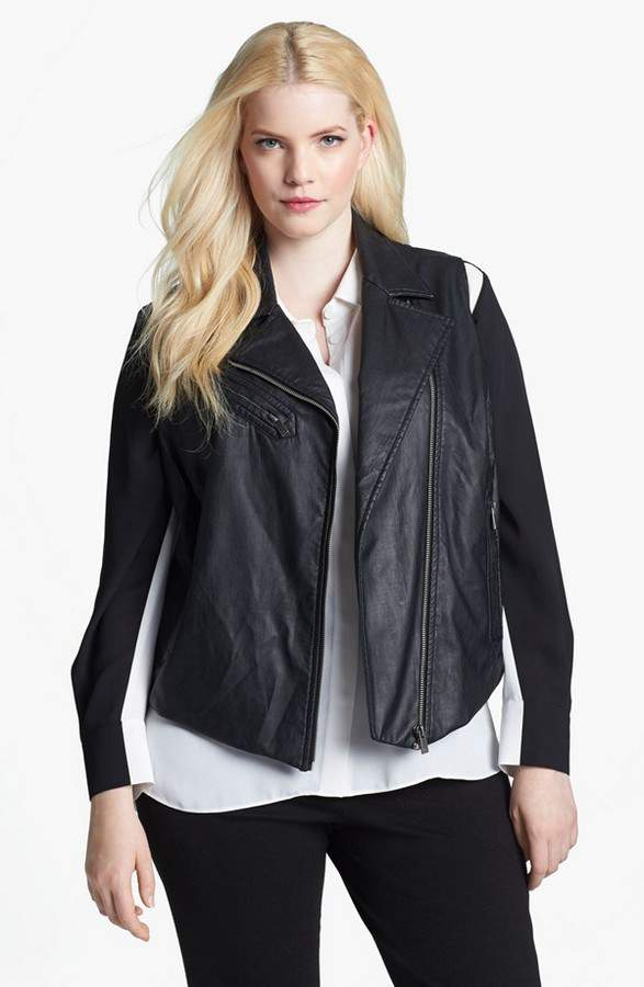 Plus Size Leather Moto Vest VInce Camuto