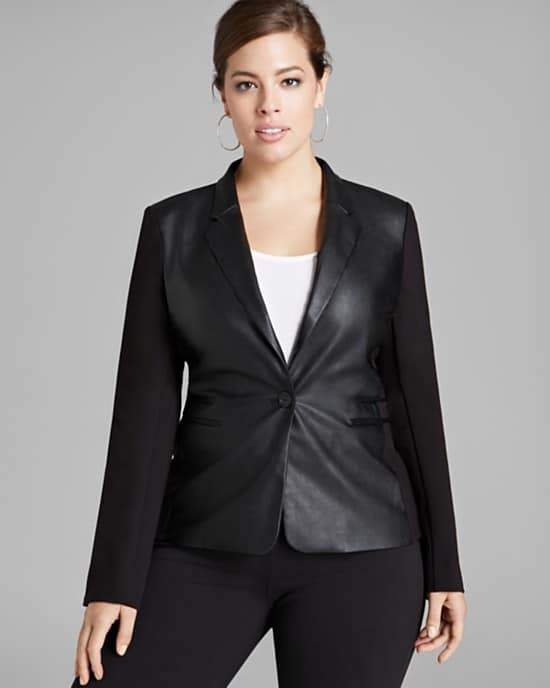 MICHAEL Michael Kors Plus Faux Leather Front Blazer
