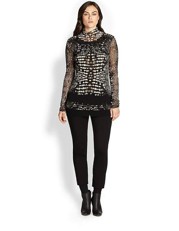Fuzzi Plus Size Croc-Print Tulle Turtleneck at Salon Z