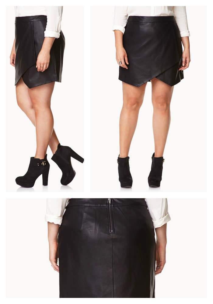 Plus Size Asymmetrical Faux Leather Skirt
