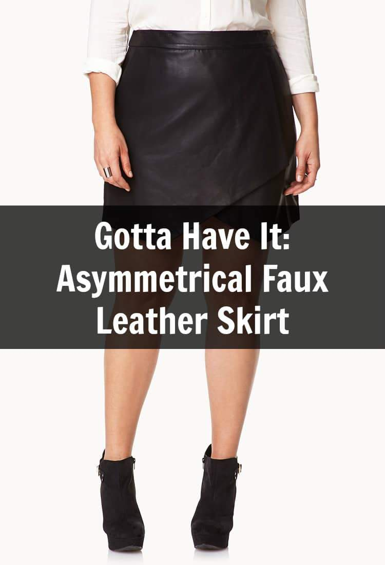 Ruffle Front Faux Leather Skirt: You'll be the center of attention in this faux leather skirt, with its fun asymmetrical ruffle detail at the hem. Foldover waistband with a back zip closure. Seaming for shape; hem is longer in the back. Falls mid calf.