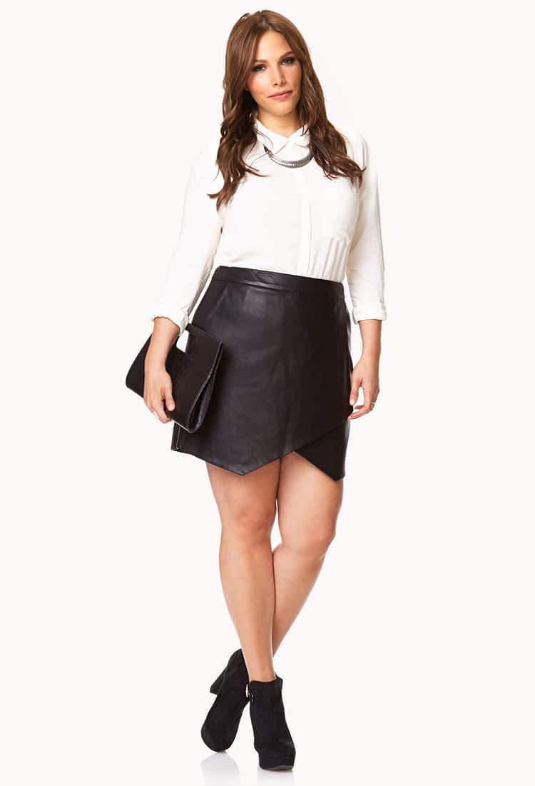 Plus Size Asymmetrical Faux Leather Skirt