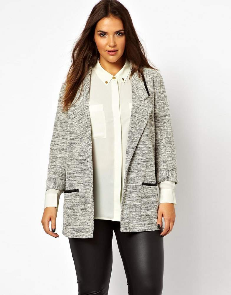 ASOS Curve Salt and Pepper Trim Blazer