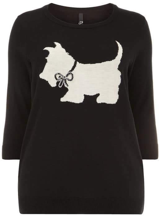 EVANS Scottie Dog Motif Plus Size Sweater