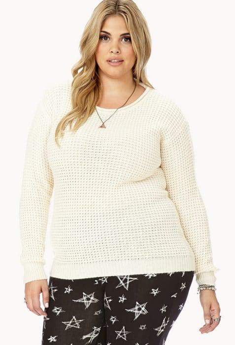 Forever 21 Cutout Waffle Knit Plus Size Sweater