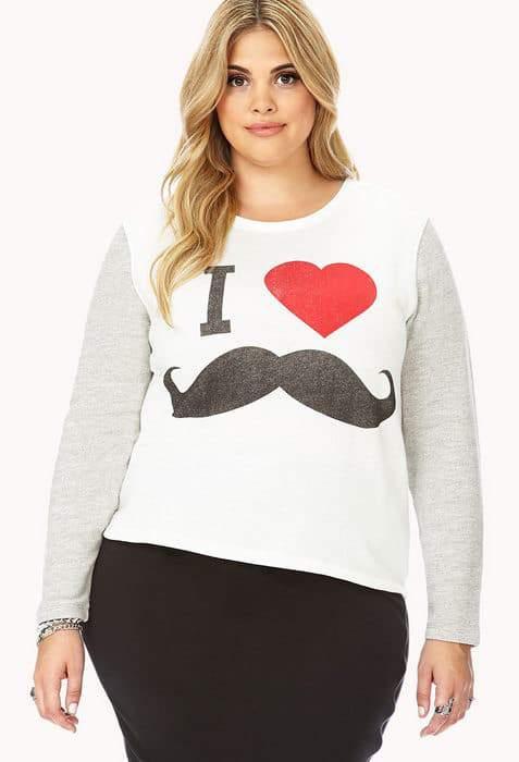 Forever 21 Plus Size I Love Mustache Sweatshirt
