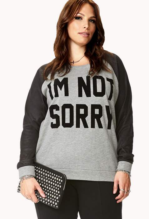 Sorry Not Sorry Raglan Plus Size Sweatshirt