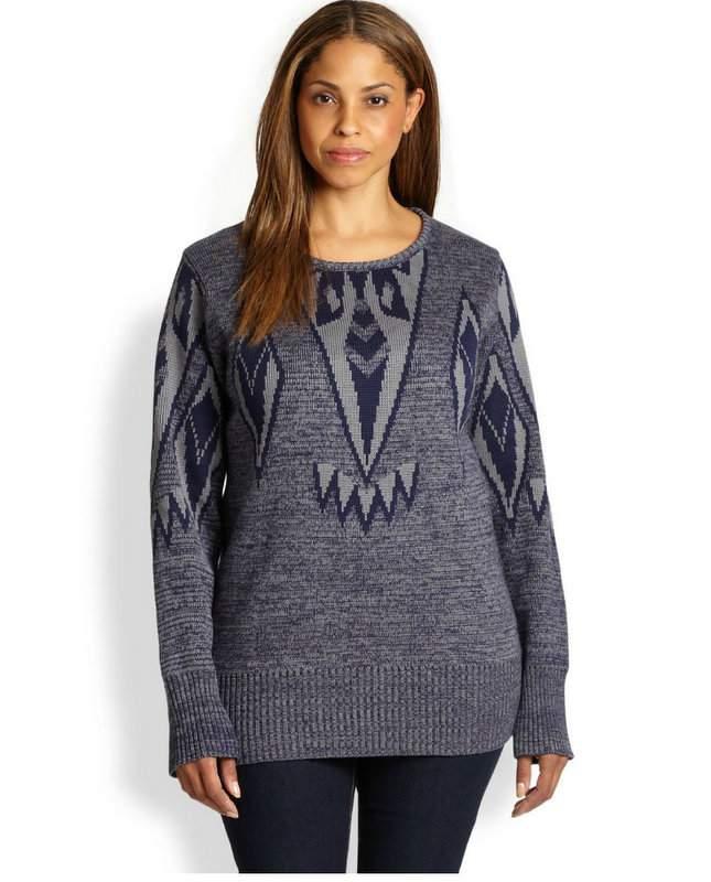Silk Falcon-Ikat Plus Size Sweater