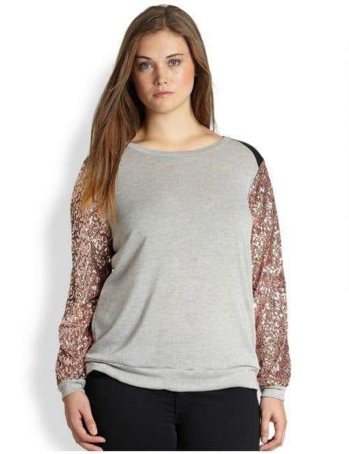 Plus Size Sequin-Sleeved Top