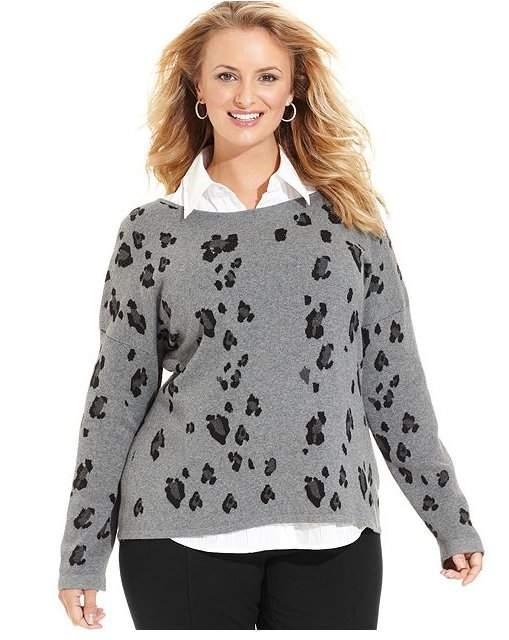 Long-Sleeve Leopard-Print Plus Size Sweater