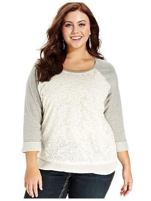 Three-Quarter-Sleeve Lace-Front Plus Size Sweatshirt