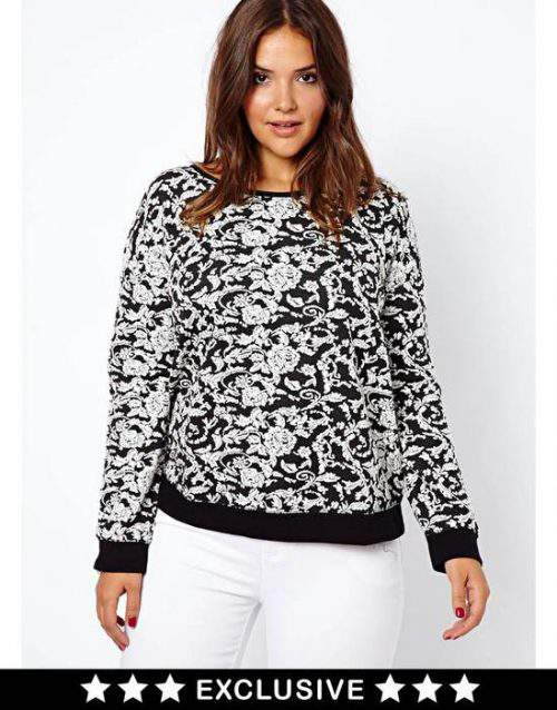 New Look Plus Size Floral Jacquard Sweater