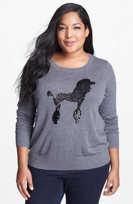Nordstrom Encore Plus Size Poodle Crewneck Sweater
