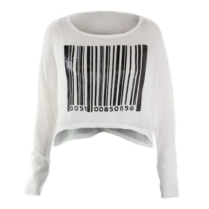 Plus Size Barcode Knit Crop at Posh Shoppe