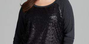Three Dots Plus Size Sequin Front Sweatshirt