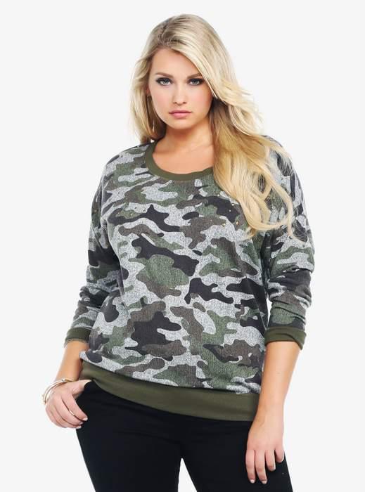 Torrid Studded Camouflage Plus Size Sweatshirt