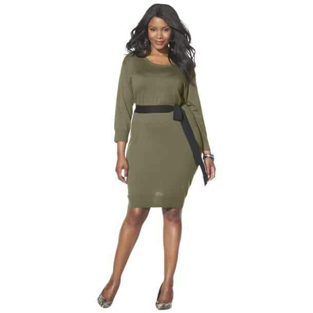 34-sleeve-sweater-dress-by-mossimo Plus Size Sweater Dress on The Curvy Fashionista