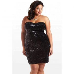 Fashion to Figure Plus Size Sequin Strapless Dress on The Curvy Fashionista