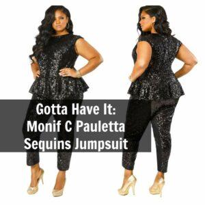 Monif C Pauletta Sequins Peplum Plus Size Jumpsuit