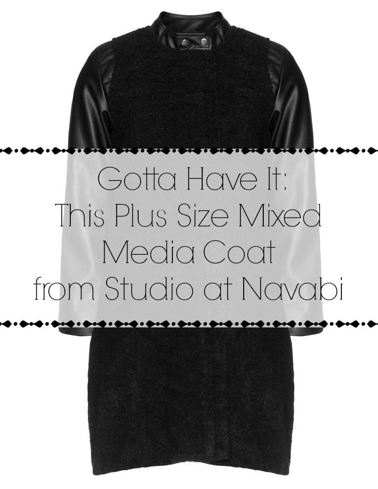 Plus Size Mixed Media Coat by studio at Navabi on The Curvy Fashioinsta main