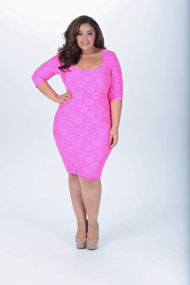 TwentyFour20 by Allison McGevnaTroublemaker in Pink Dress on The Curvy fashionista