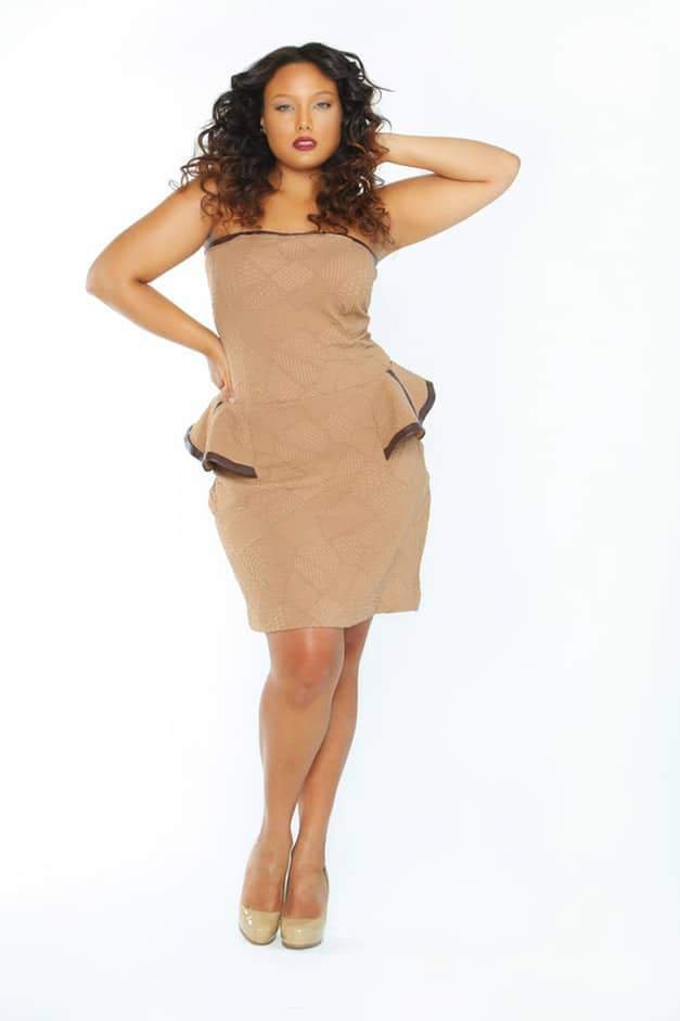 Plus size designer Tru Diva Designs Mocha Carmela Dress on the Curvy Fashionista