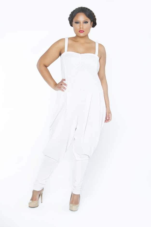 Plus Size Designer Tru Diva Designs Mocha Jazzee Jumpsuit on The Curvy Fashionista