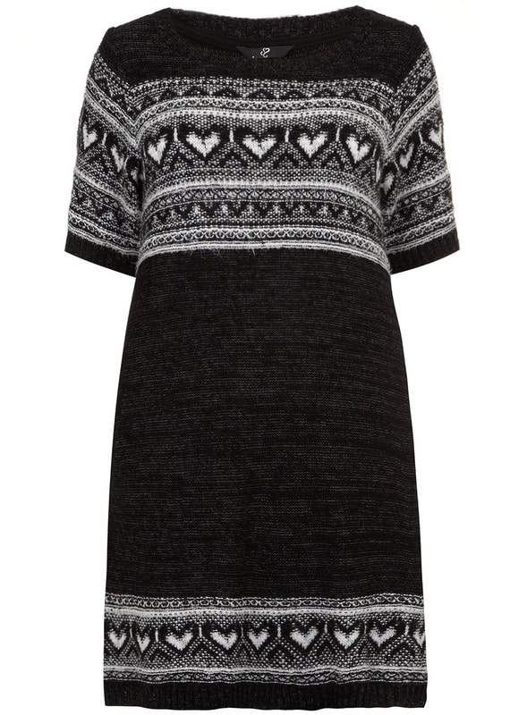 black-fairisle-heart-tunic-by-evans-Plus Size Sweater Dress on The Curvy Fashionista
