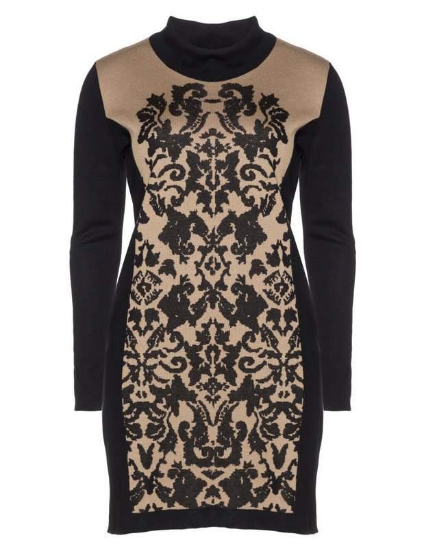 fine-knit-dress-with-jacquard-pattern-by-tuzzi-nero-Plus Size Sweater Dress on The Curvy Fashionista