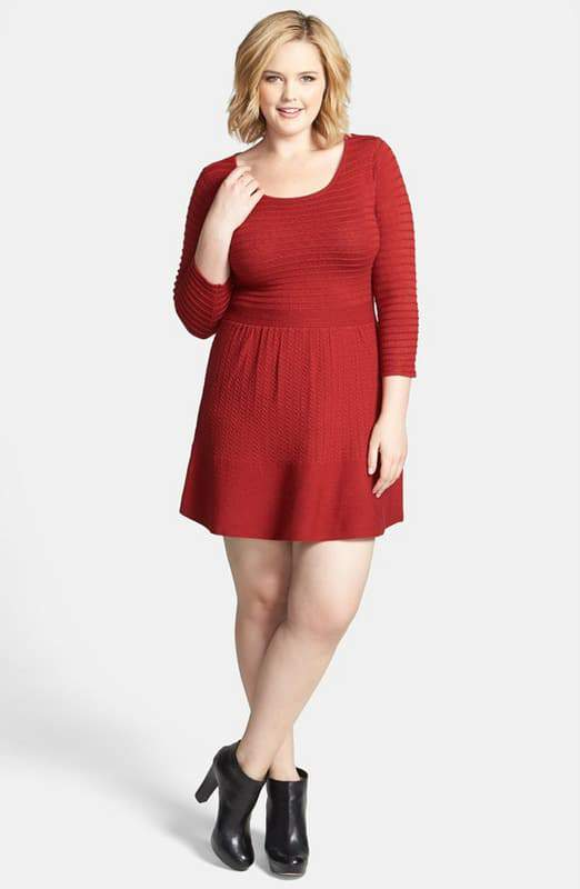 grivola-fit-flare-sweater-dress-by-jessica-simpson-Plus Size Sweater Dress on The Curvy Fashionista